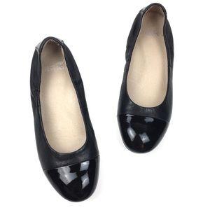 Dansko black leather cap toe ballet flat lisanne